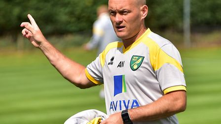 Norwich City boss Alex Neil at Colney on Friday. Picture: Antony Kelly
