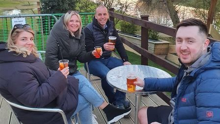 Outdoor punters at The Three Pickerels in Mepal
