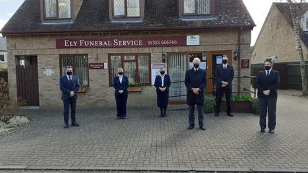 Ely Funeral Service observing a minute's silence as part of the National Day of Reflection on March 23.