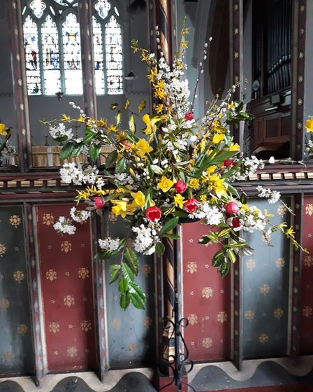 Flower arrangement by Jane Blanchard on display at St Peter's Church on Easter Sunday (April 4).