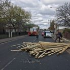 A womansaid wood fell from a truck and onto her car in Fanshawe Avenue, Barking on Thursday, April 15.