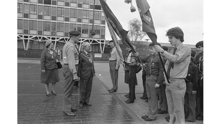 A St George's Day Scout parade in Ipswich in1978