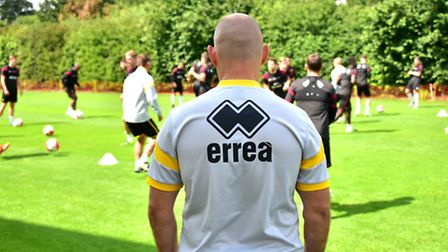 Norwich City manager Alex Neil keeps a close eye on training at Colney on Friday. Picture: Antony Ke