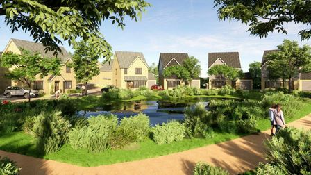 Artists impression of the proposed development of 33 homes in Metcalfe Way, Haddenham