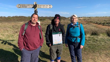 Paul Slater, Jean-Michel Nehme, and Ann Fletcher are part of the team walking the 100-miles to raise money.