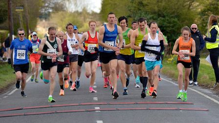 The start of the 2021 St Clare Hospice 10k race near Harlow.