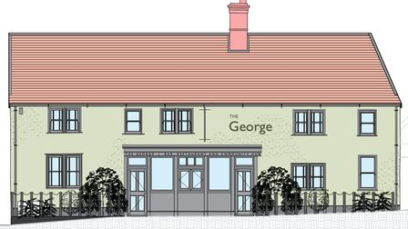 Architects' plans of a pub with the name The George on it
