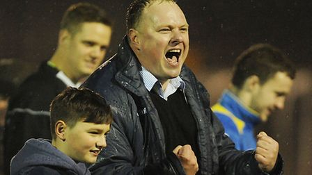 King's Lynn Town manager Gary Setchell at the final whistle. Picture: Ian Burt