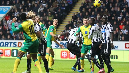 Ryan Bennett heads for goal during Norwich City's 2-1 loss to Newcastle in November 2013, the last t