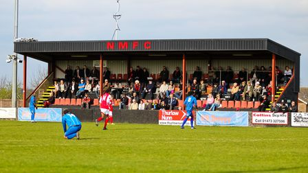 Fans in the stand at Bloomfields.Needham Market V Ware (Ryman league) on 05-04-2014 at Bloomfields
