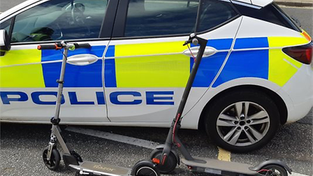 Police seized two electric scooters