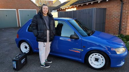 Senna Watker with the Peugeot 106 Rally owned by her father Ian and half-brother Cam