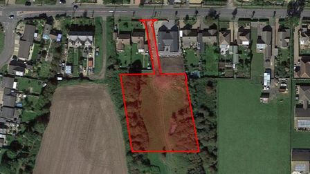 Aerial view of the site where four homes have been granted outline permission in Upwell Road, March.