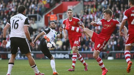Nathan Redmond sees his shot blocked the last time Norwich City faced Southampton.