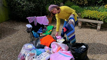 Sandra Witts with items set to be donated to charity