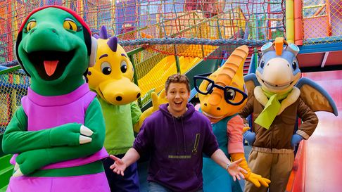 Dippy the dinosaur and his friends pictured recently with David Ribi, for the park's Easter event