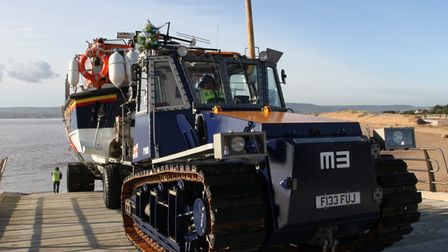 A lifeboat being pulled up the ramp at Exmouth