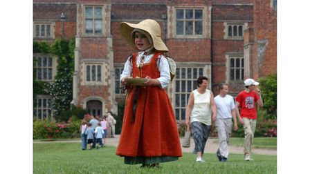 A youngster at a Tudor day at Kentwell in 2004