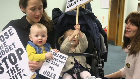 Tots join mums' town hall protest in 2017 at closures ofchildren's nurseries