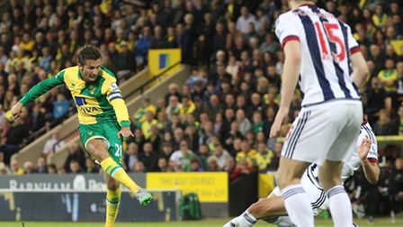 Gary ONeil has a shot on goal during Norwich City's Capital One Cup third round tie against West Bro