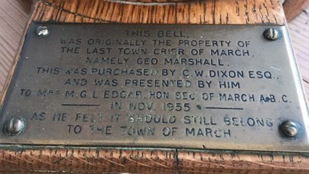 Take a look at the original March town crier bell which dates back to 1955