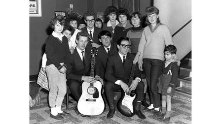 Paul Glazebrook with The Epics and fans at the ABC cinema, in 1964. The Epics line up also included