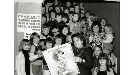 Mayor of Felixstowe Win Knight with children from the Saturday morning cinema club in April 1976