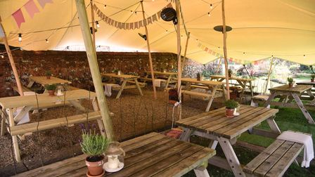 The outdoor dining area at The Bull Troston Suffolk