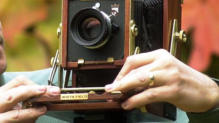 Photographer Tom Mackie with his 5x4 film camera. Photo: Bill SmithCopy: Emma OuttenFor: EDP Cen