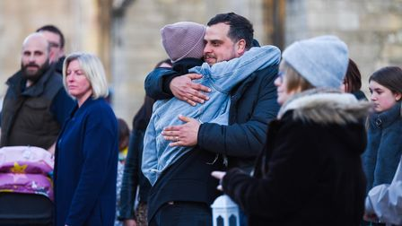 Family & friends gathered on the Saturday Market Place in King's Lynn, to pay their respects to Lee