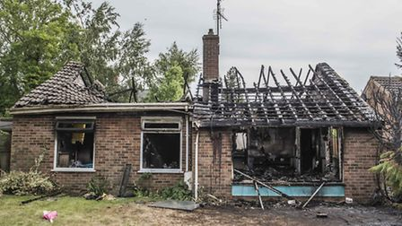 The aftermath of a house fire on Cecil Close in Watlington. Picture: Matthew Usher.