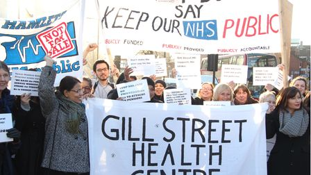 Protests to stop NHS being privatised have been going on for the past decade... like this 2012 protest in Limehouse