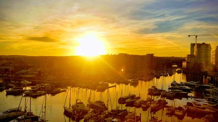 A beautiful sunset over the waterfront in Ipswich