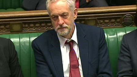 Labour party leader Jeremy Corbyn sits in the Houses of Commons during a debate on the trade union b