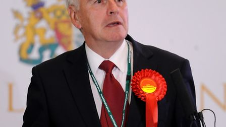 John McDonnell, makes a speech during the General Election count at Brunel University, London.