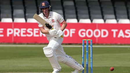Daniel Lawrence in batting action for Essex