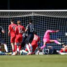 Tyler Cordner of Southend United scores the first goal for his team and celebrates during Southend U