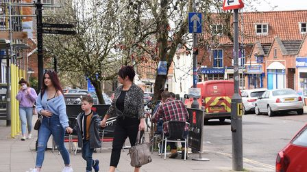 Church Street in Dereham, with people out and about in comparison to one year ago during the first l