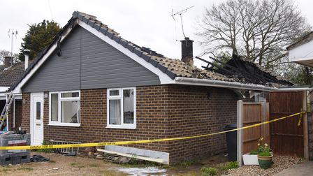 The burnt out roof of the bungalow after the fire in Cathedral Drive at North Elmham. Picture: DENIS