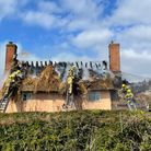 Fire crews were called to the thatched fire in Thwaite early Monday morning