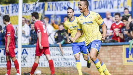 Kern Miller, front, is expected to be fit for the Linnets' trip to Redditch. Picture: MATTHEW USHER