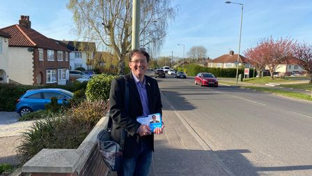 Conservative county council candidate Jonathan Emsell out door knocking in the Crome Ward