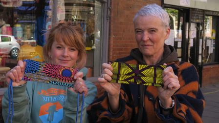 Masks for extraordinary people... Finlay Forbes-Gower (left) with charity founder Corinne McManus