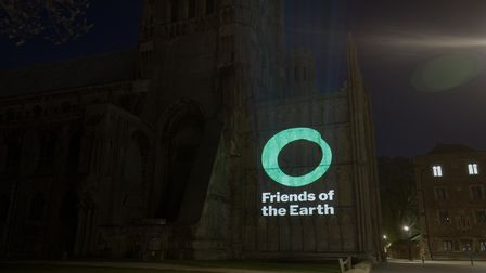 Ely Cathedral provided the backdrop for Friends of the Earth's climate action message.
