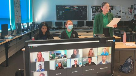 Sydney Russell School pupils during a virtual debating competition