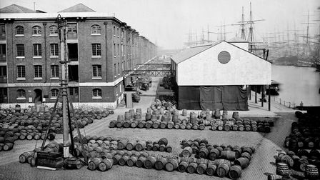 Heyday of the old London Docks at Wapping... when 500 ships loaded and unloaded at any one time