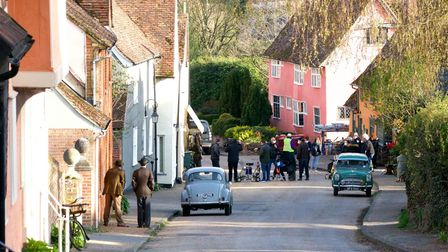 TV crews were in Kersey yesterday for the filming of the new television series Magpie Murders