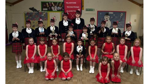 Felixstowe Technotronics Majorettes in 2003, after doing well in a national competition