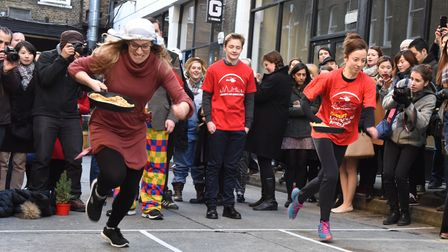 Annual Shrove Tuesday pancake race at Old Truman's Brewery... one of many community events