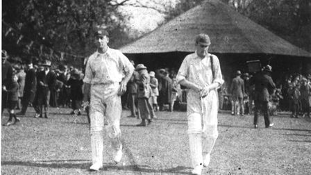 Hobbs and Knight go out to open the innings at Old Buckenham in 1921